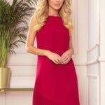 KARINE – Červené dámské trapézové šaty s asymetrickým plisováním 308-2
