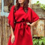 SOFIA – Červené dámské motýlkové šaty 287-3