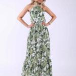 Zelené maxi šaty s potiskem