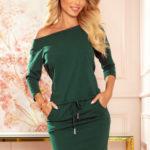 Dámské sportovní bavlněné šaty v lahvově zelené barvě s kapsičkami 13-127