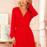 LAUREN – Červené dámské šifonové šaty s dekoltem a volánky 329-2