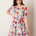 Šedé šaty s květinovým vzorem