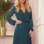 ISABELLE – Plisované dámské šaty v lahvově zelené barvě s dekoltem a dlouhými rukávy 313-1