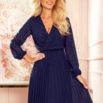 ISABELLE – Tmavě modré dámské plisované šaty s dekoltem a dlouhými rukávy 313-6