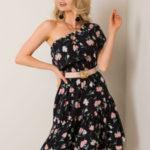 Černé květinové šaty s volánkem