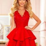 Exkluzivní červené dámské šaty s krajkovým výstřihem 321-1
