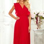 EMILY – Červené dámské plisované šaty s volánky a výstřihem 315-3