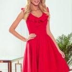 POLA – Červené dámské šaty s volánky ve výstřihu 307-1