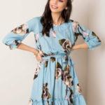 Šedé a modré květinové šaty