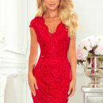 Červené krajkové dámské šaty s krátkými rukávy a dekoltem 316-1