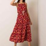 RUE PARIS Tmavě červené květinové šaty