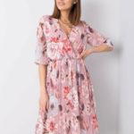 Dámské růžové šaty s květinami