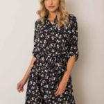Černé květinové šaty s opaskem