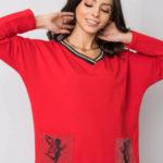 Červené bavlněné šaty s aplikacemi