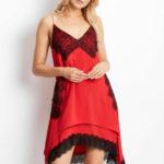 Červené šaty s asymetrickým lemem BY O LA LA