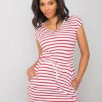 NEZNÁTE MĚ Červené a bílé pruhované šaty