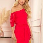 CASSIE – Červené dámské šaty s krátkými rukávy 249-3