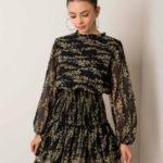 RUE PARIS Černé a žluté květinové šaty
