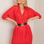 RUE PARIS Červené skládané šaty