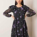 RUE PARIS Černé a fialové květinové šaty