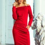 RAYA – Červené dámské šaty s odhalenými rameny 225-3