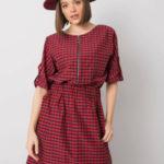 RUE PARIS Červené a černé kostkované šaty