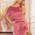 CASSIE – Velurové dámské šaty ve špinavě růžové barvě s krátkými rukávy 249-4