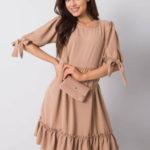Tmavě béžové volné šaty