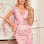 Krajkové dámské šaty ve špinavě růžové barvě s krátkými rukávy a dekoltem 316-6