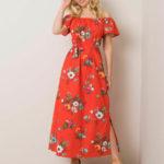Červené španělské šaty s květinami