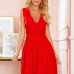 ELENA – Elegantní červené dámské šaty s dekoltem a záložkami 338-1