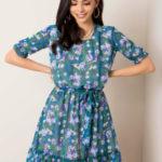 Tmavě zelené šaty s květinovým potiskem