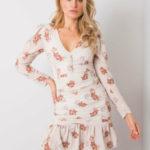RUE PARIS Béžové šaty s květinovým potiskem