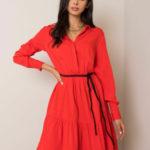 FRESH MADE Zářivě červené šaty s opaskem