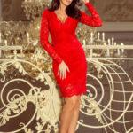 Společenské dámské šaty s dlouhým rukávem červené krajkové – Červená / XXL – Numoco