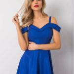 Kobaltové šaty s delší zadní stranou