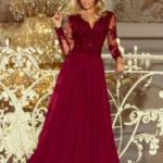 Exkluzivní dámské šaty s výšivkami a dlouhým rukávem dlouhé bordó – Bordó / L – Numoco