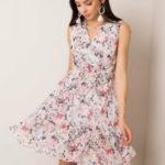 Květinové šaty RUE PARIS Ecru