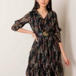 RUE PARIS Černé šaty s malými květinovými vzory