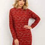Tmavě červené šaty s BSL vzory