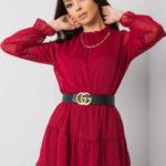 SUBLEVEL Tmavě červené dámské šaty s volánkem