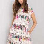 RUE PARIS Béžové šaty s barevnými potisky