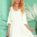 MARINA – Vzdušné dámské šaty v barvě ecru s dekoltem 292-4