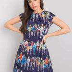 RUE PARIS Tmavě modré šaty s barevnými potisky