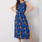 RUE PARIS Kobaltové vzorované šaty