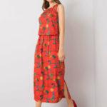 RUE PARIS Červené šaty se vzorem