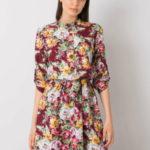 Vínové šaty s barevnými květy