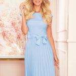 LILA – Světle modré dámské plisované šaty s krátkými rukávy 311-8