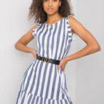 Tmavě modré pruhované šaty s volánkem