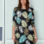 Černé šaty s potiskem palmového listu